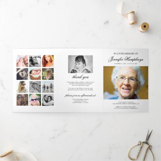 Funeral Order of Service Eulogy Photo Collage Tri-Fold Invitation