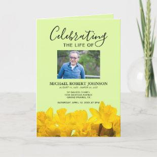 Funeral Program Daffodil | Modern Order of Service