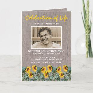 Funeral Program | Orbituary Rustic Sunflower