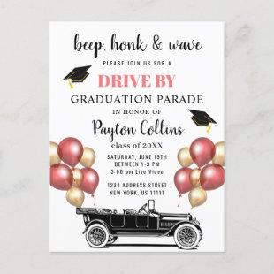 Funny Class of 2021 DRIVE BY Graduation Party   Announcement Postcard