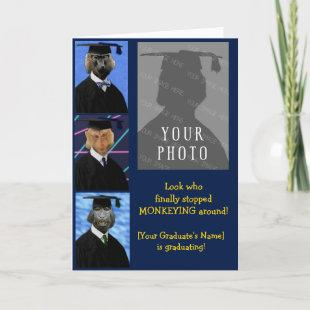 Funny Graduation Monkeys Personalized Annoucement Card