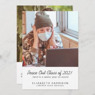 Funny Peace Out Class of 2021 Photo Graduation Announcement