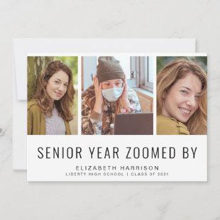 Funny Senior Year Zoomed By 4 Photo Graduation Announcement