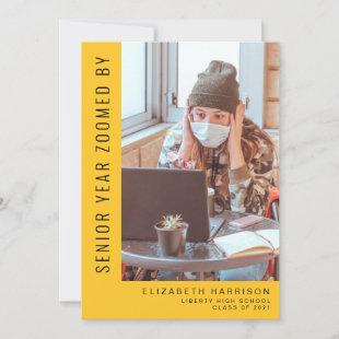 Funny Senior Year Zoomed Photo Yellow Graduation Announcement