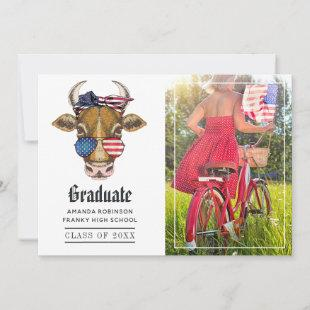 Funny USA Patriotic Cow Graduation Photo Announcement