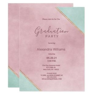 Geometric pink mint gold watercolor Graduation Invitation