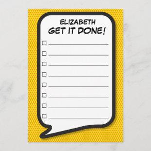 GET IT DONE List Speech Bubble Fun Retro Invitation