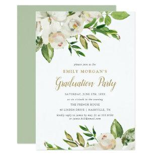 Gilded Blooms Graduation Party Invitation