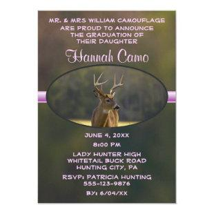 Girls Hunting Whitetail Buck Graduation Invitation
