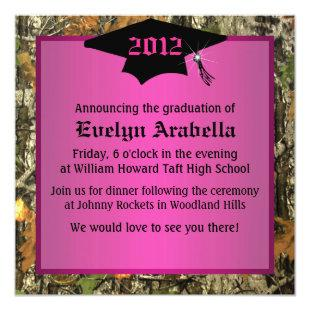 Girl's Pink Camo Graduation In Invitation