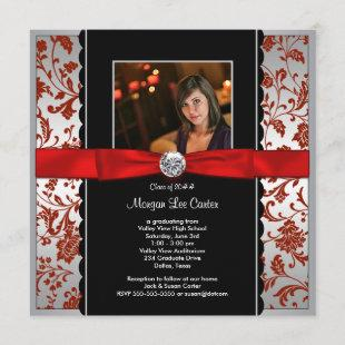 Girls Red and Black Photo Graduation Announcem Invitation