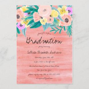 Girly Coral Yellow Floral Watercolor Graduation Invitation