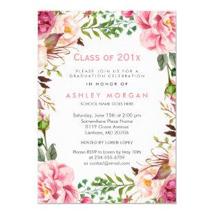 Girly Floral Chic Class of 2020 Graduation Party Invitation