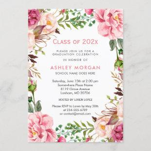 Girly Floral Chic Class of 2021 Graduation Party Invitation