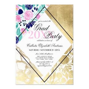 Girly Gold Marble Floral Watercolor Graduation Invitation