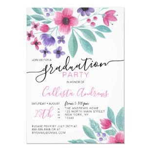 Girly Pink Purple Watercolor Floral Graduation Invitation