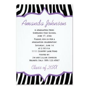 Girly Purple and Zebra Print Graduation Party Invitation