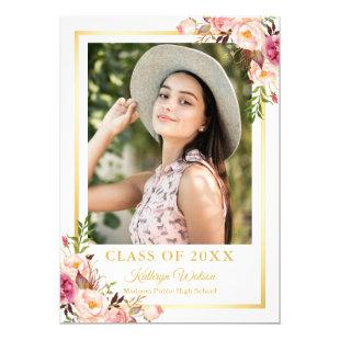 Girly Rustic Floral Gold Photo Graduation Party Invitation