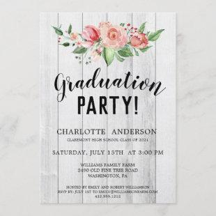 Girly Rustic Photo Floral  Graduation Party Invite
