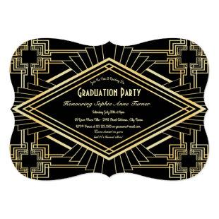 Glam Gold Black Great Gatsby Graduation Party Invitation