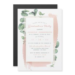 Glam Green Painted Branches Special Graduation Magnetic Invitation