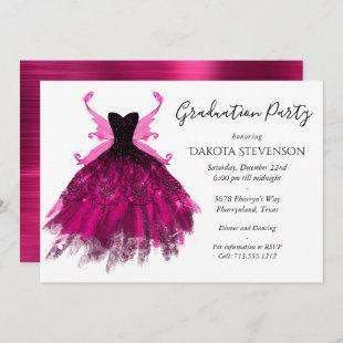 Glam Rock Pink Pixie Wing Dress | Graduation Party Invitation