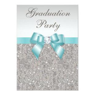 Glam Silver Jewels Teal Bow Girls Graduation Party Invitation
