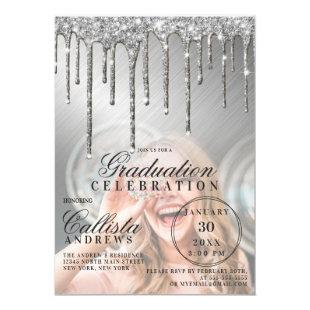 Glam Silver Metallic Glitter Drip Photo Graduation Invitation