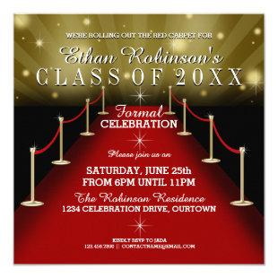 Glamorous Red Carpet Graduation Party Invitations