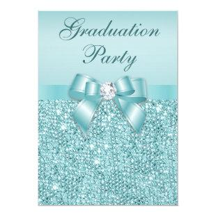 Glamorous Teal Jewels Bow Girls Graduation Party Invitation