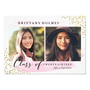 Glitter Confetti Sprinkle 2 Photo Graduation Pink Invitation