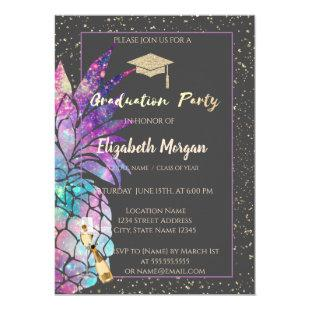 Glitter Graduation Cap,Confetti,Wine, Pineapple Invitation