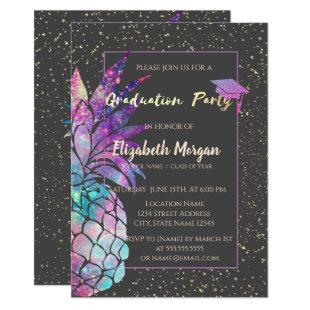 Glitter Graduation Cap, Pineapple, Confetti Invitation