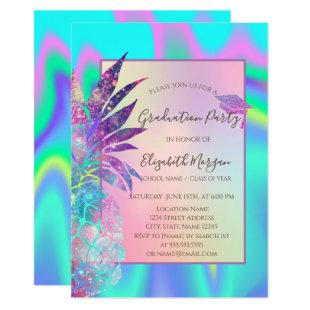 Glitter Graduation Cap, Pineapple Holographic Invitation