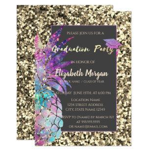 Glitter Graduation Cap, Pineapple, Sequins Invitation