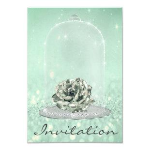 Glitter Mint Green Tiffany Diamond Rose Sweet 16th Invitation