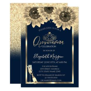 Glitter,Sunflowers,Glass Tiara Blue Quinceanera Invitation