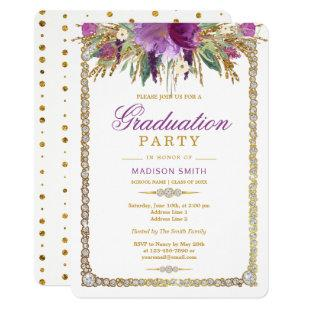 Glitter Watercolor Flowers Bling Grad Party Invitation
