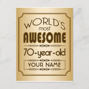 Gold 70th Birthday Celebration World Best Fabulous Invitation Postcard