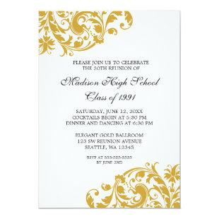 Gold and Black Flourish Class Reunion Invitation