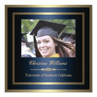 Gold and Blue Graduation Invitation
