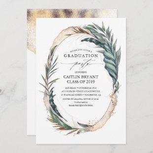 Gold and Tropical Beach Palm Leaves Graduation Invitation