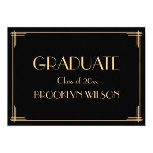 Gold Black Art Deco Graduation Party Invitations
