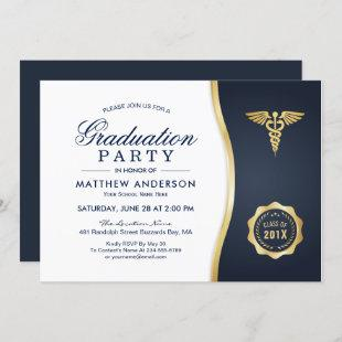 Gold Blue Caduceus Medical School Graduation Party Invitation