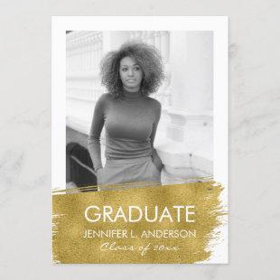 Gold Brushed Graduation Announcement Card