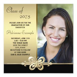 Gold Butterfly Black and Gold Photo Graduation Invitation