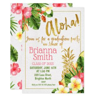 Gold Calligraphy Luau Graduation Invitation