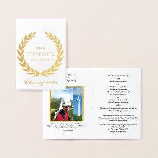 Gold College Graduation Announcement Invitation