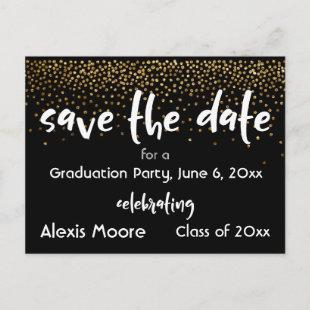 Gold Confetti Black Graduation Party Save the Date Announcement Postcard