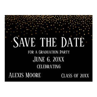 Gold Confetti Black Graduation Party Save the Date Postcard